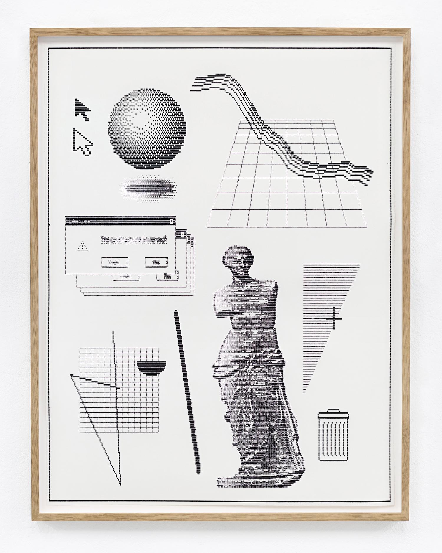 Arno Beck : 'Delete History' : Schreibmaschinen-Zeichnung auf Büttenpapier : 60 x 45 cm : 2018