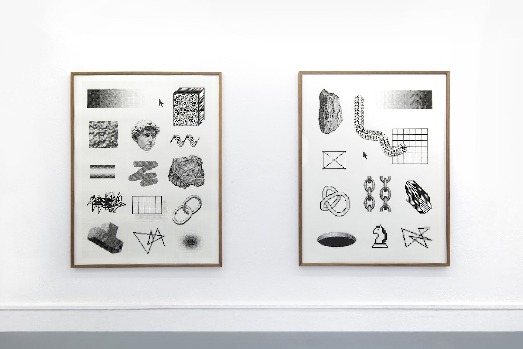 Arno Beck : Installation View 'Accumulation I & II' : Fineliner auf Papier : je 160 x 122 cm : 2019