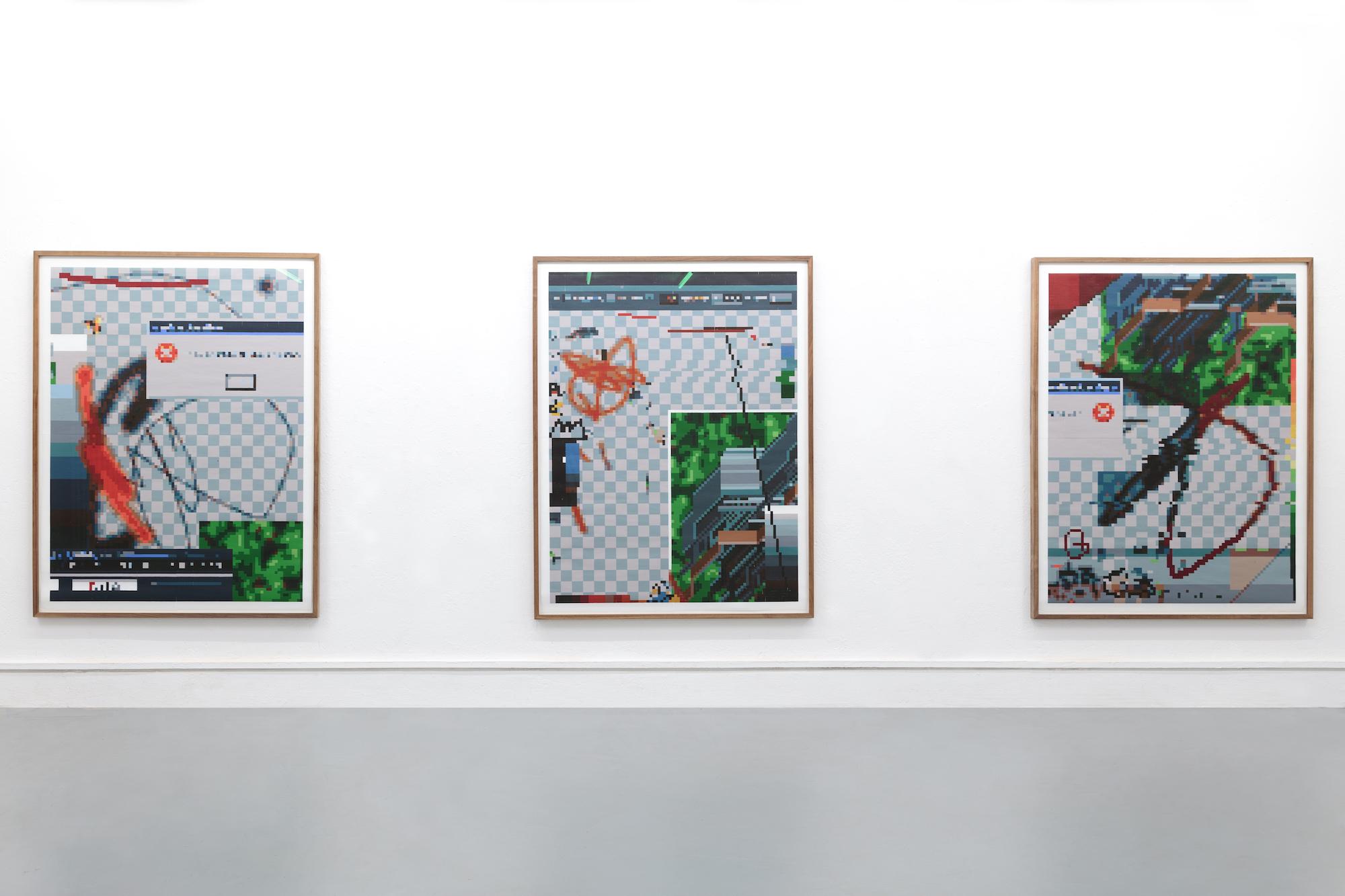 Arno Beck : Installation View 'Interface (Triptych)' : Holzdrucke auf Japanpapier : je 160 x 122 cm : 2016