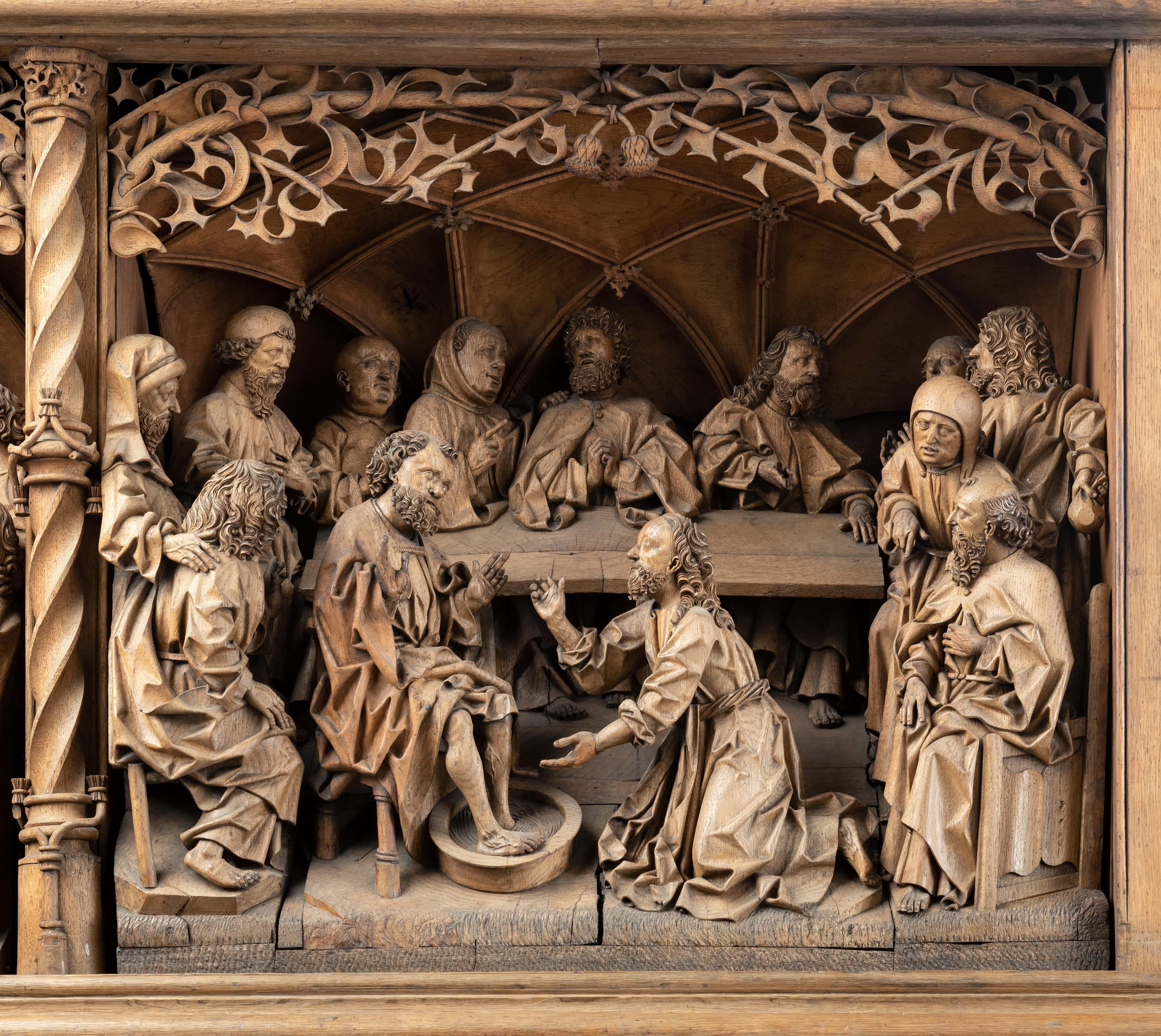 Fußwaschung, Predella des Hochaltars, Werkstatt des Arnt Beeldesnider, 1491, St. Nicolai, Kalkar, Foto: Stephan Kube, Greven – nur diese eine Szene konnte Arnt vor seinem Tod fertigstellen, weitere Teile des Retabels wurden von Nachfolgern gestaltet.