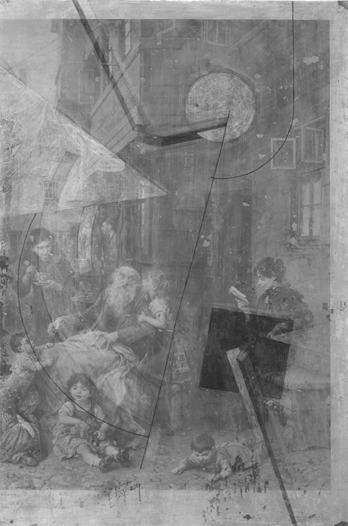 Frühere Zuschreibung: El Lissitzky Proun, 1923 Der unter der Bildschicht liegende Kunstdruck im Infrarotreflektogram Foto: Museum Ludwig Köln und Restaurierungszentrum Düsseldorf, Ulrik Runeberg, Inken Holubec
