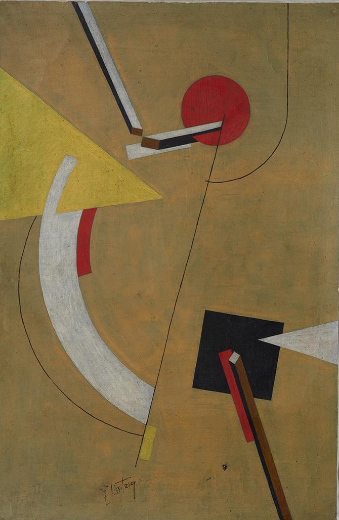 Frühere Zuschreibung: El Lissitzky Proun, 1923 Tempera auf Papier 61 x 40 cm Museum Ludwig Köln Inv.-Nr. ML/Z 2011/208 Foto: Rheinisches Bildarchiv, Köln